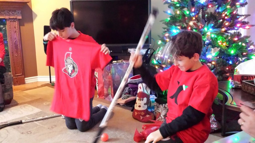 Hockey equipment for Christmas from family in Canada.